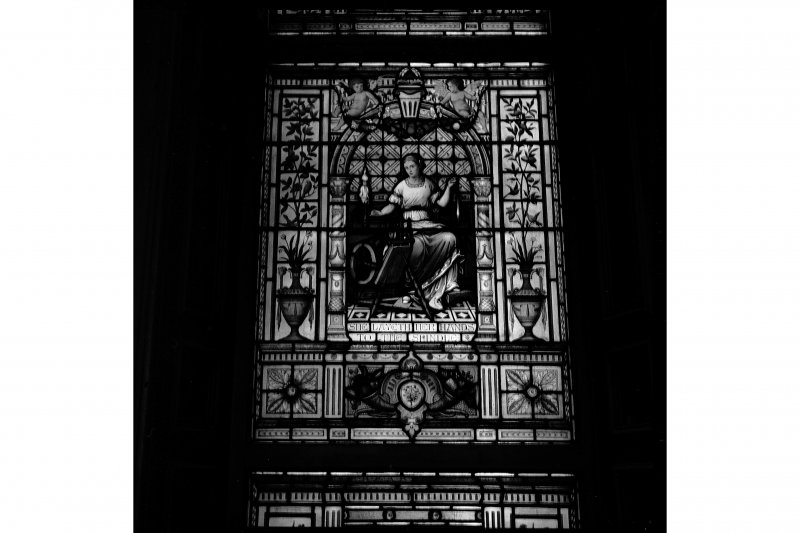 Glasgow, 110-118 (even) Queen Street, British Linen Bank, Interior View showing stained glass window
