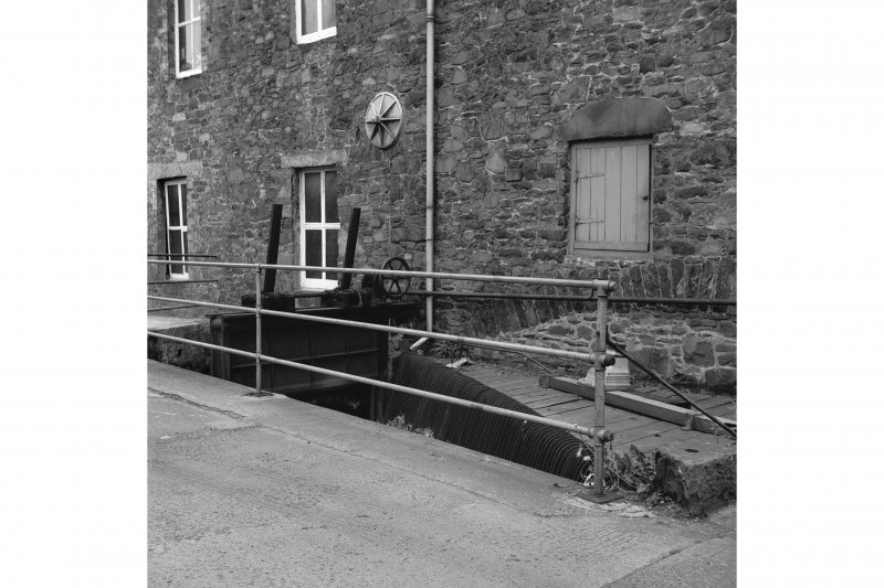 Galashiels, Hudderfield Street, Abbotsford Mill View from W showing sluice
