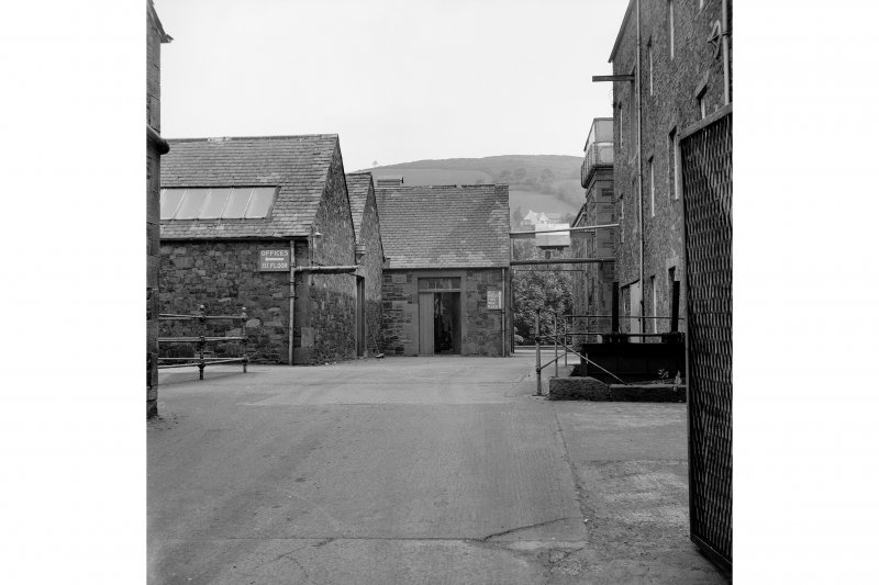 Galashiels, Hudderfield Street, Abbotsford Mill View looking NW through entrance