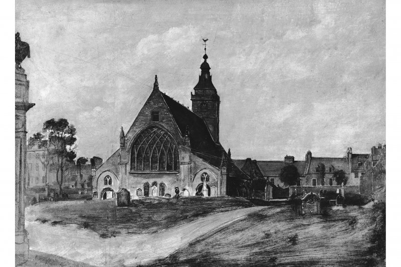 General view of church and churchyard. Photographic copy of an oil painting.
