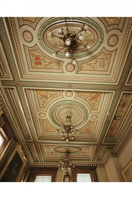 Interior, council chamber, decorated ceiling