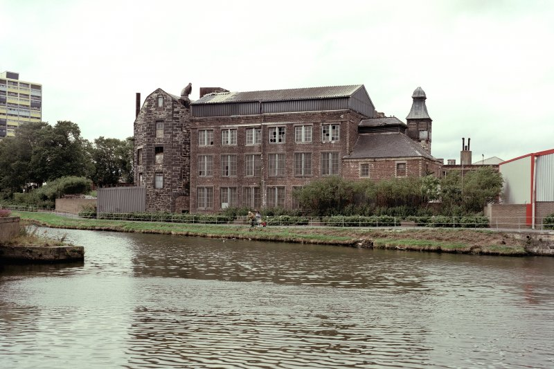 Edinburgh, Quayside Street, Quayside Mills. View of mills from S-S-E across the Water of Leith