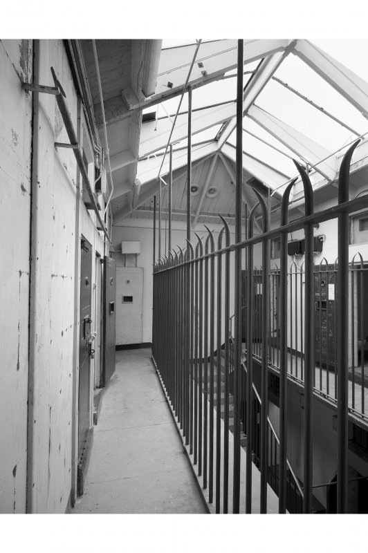 Interior, cell block, first floor landing