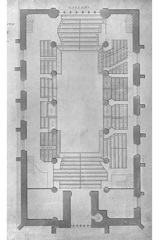 Scanned image of right hand side of photograph showing plan of gallery in St Mary's Church (North Leith Parish Church), Kirkgate, Leith, Edinburgh