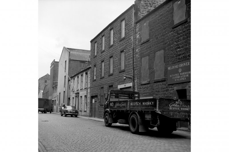 Edinburgh, 18-19 Mitchell Street, Warehouse View from SE showing SSW front of numbers 18-19 with number 17 in background and part of numbers 20-28 in foreground