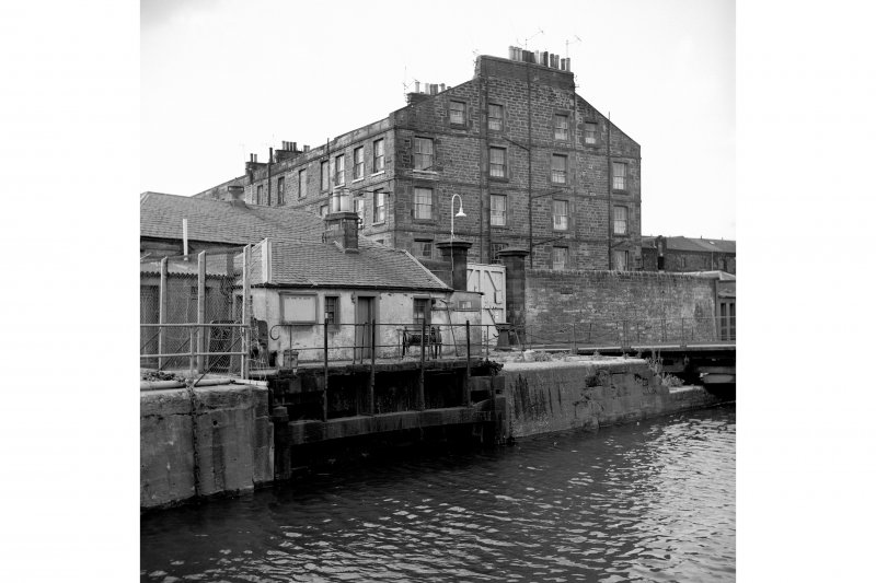 Edinburgh, Leith Docks, East Old Dock View from NE showing N front of SE lockgate with 2-11 Dock Place in background