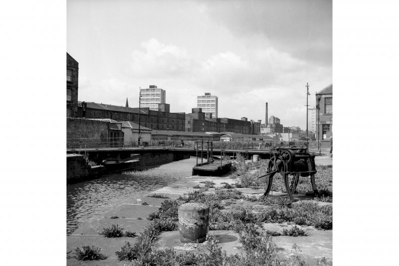 Edinburgh, Leith Docks, East Old Dock View from ENE showing ENE front of swing bridge with central lockgate and winch in foreground