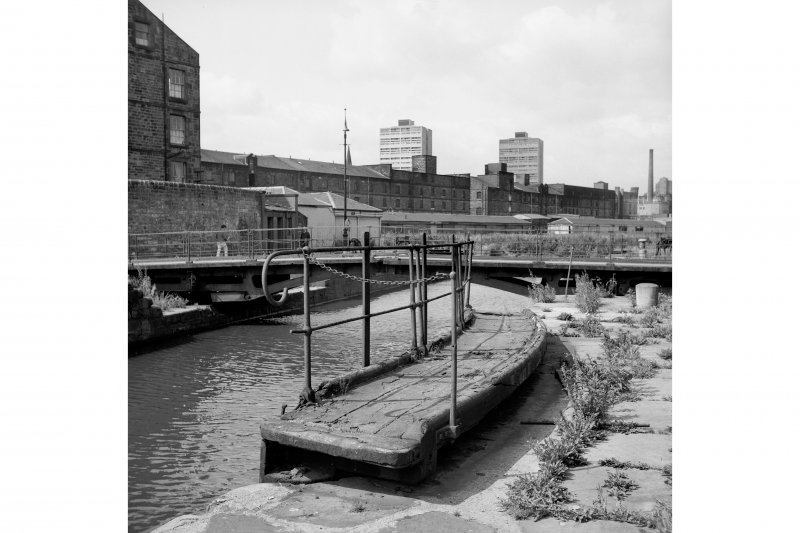 Edinburgh, Leith Docks, East Old Dock View from ENE showing central lockgate with swing bridge in background