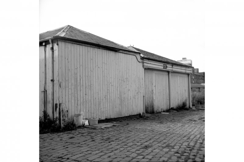Edinburgh, Leith Docks, East Old Dock View from ENE showing NNE front of transit shed