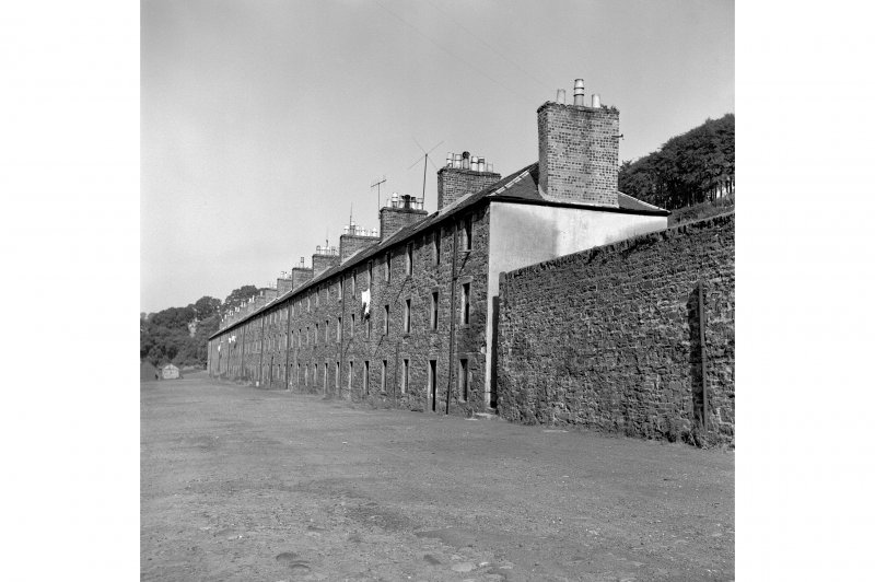 New Lanark, 1-26 Long Row, Terraced Houses General view from SE showing SSW front