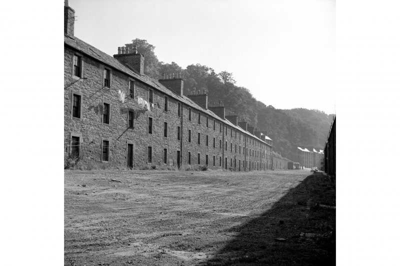 New Lanark, 1-26 Long Row, Terraced Houses General view from W showing part of SSW front