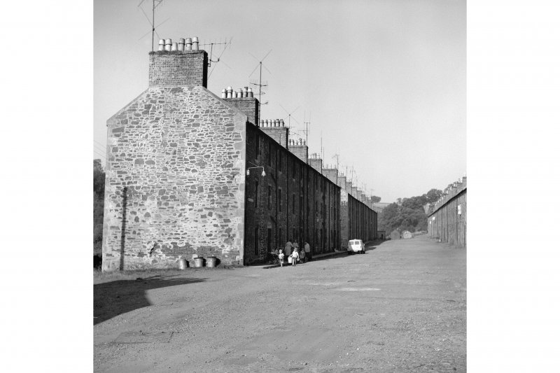 New Lanark, 9-47 Rosedale Street View from ESE showing NNE and SE fronts of numbers 9-47 with numbers 49-127 in background