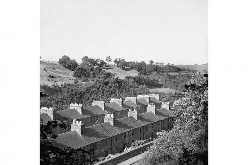 New Lanark, 9-47 Rosedale Street View from ENE showing roofs of part of Long Row and 9-47 Rosedale Street