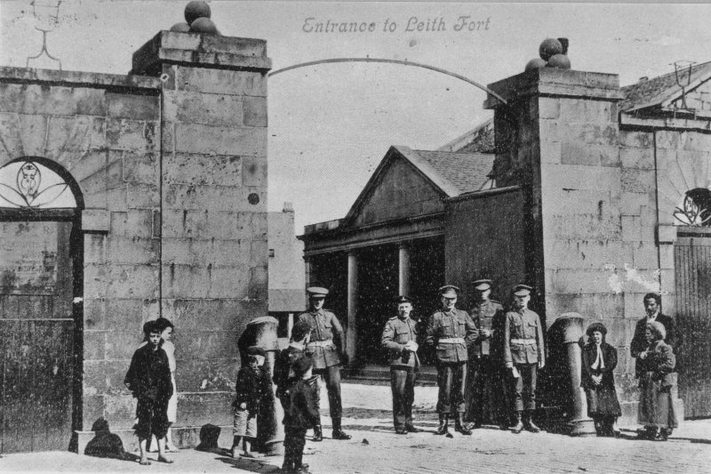 Edinburgh, North Fort Street, Leith Fort. View of soldiers and children standing at entrance. Titled: 'Entrance to Leith Fort'