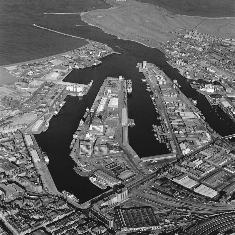 Aberdeen Harbour, oblique aerial view, taken from the W.