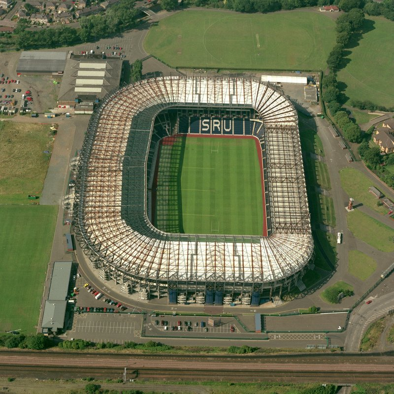 Edinburgh, Murrayfield Stadium, oblique aerial view, taken from the SSE, centred on Murrayfield Stadium. Murrayfield Ice Rink is visible in the top left-hand corner of the photograph.