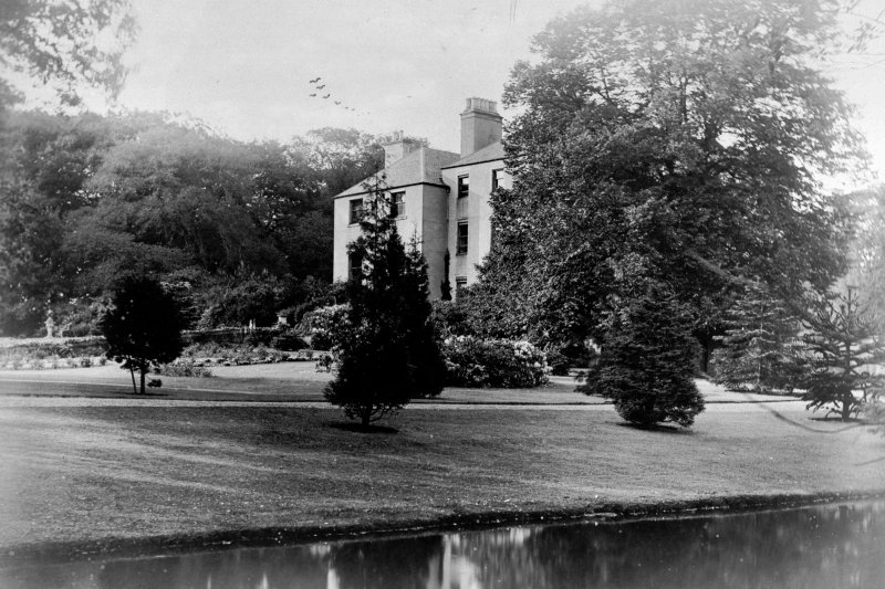View of Cammo House from lake.