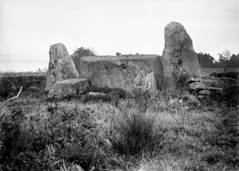 View of recumbent stone and flankers. Original negative captioned 'Auchquhorthies Stone Circle, near Inverurie Rec Stone from inside of Circle Nov 1908'.