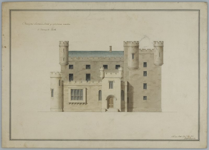 Castle of Mey. Elevation of entrance front showing proposed additions by William Burn.   Insc. '76 George Street May 28 1819' Signed: 'Willm Burn'.   Scanned image of C 39427 CT.