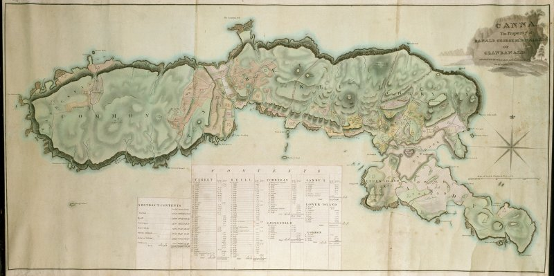 Photographic copy of map of Canna and Sanday, Small Isles. Inscr: 'Canna. The property of Ranald George M'Donald of Clanranald. Surveyed by Wm Bald, 1805'.