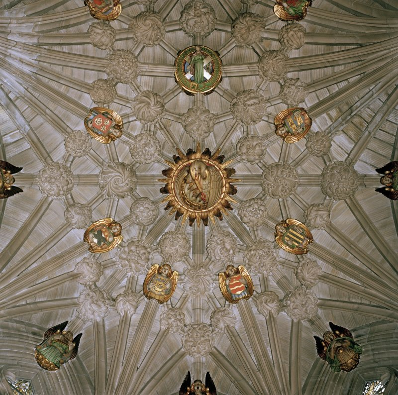 View of ceiling of Thistle Chapel.