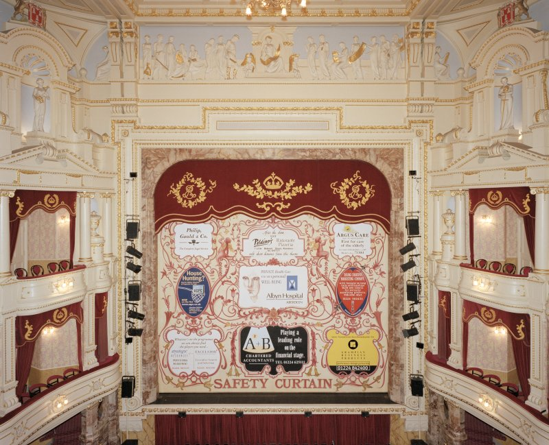 Aberdeen, Rosemount Viaduct, His Majesty's Theatre. Interior, auditorium, view of stage from circle with safety curtain down.