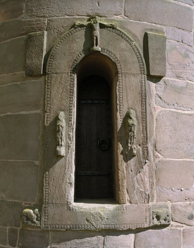 View of tower doorway from West.