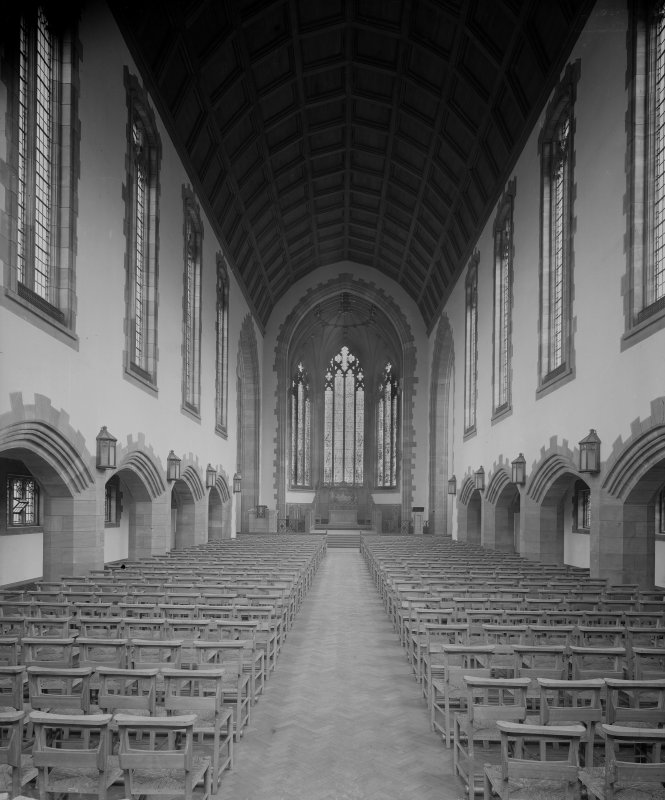 West Saville Terrace, Reid Memorial Church, interior. General view of Nave and Chancel from West.