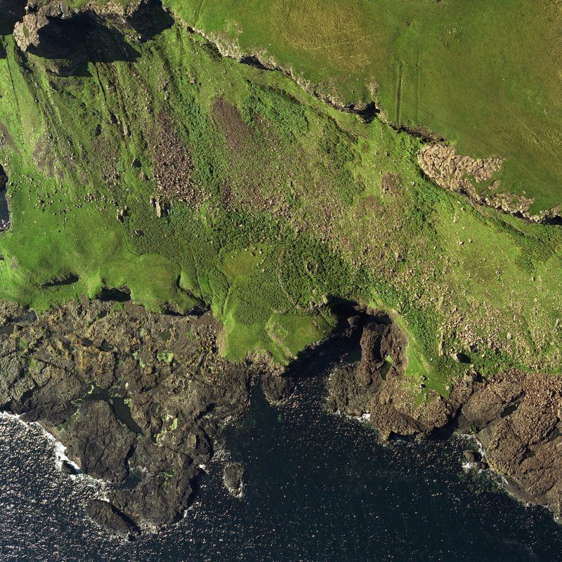 Canna, Sgor nam Ban-Naomha, monastic settlement (possible): aerial view.