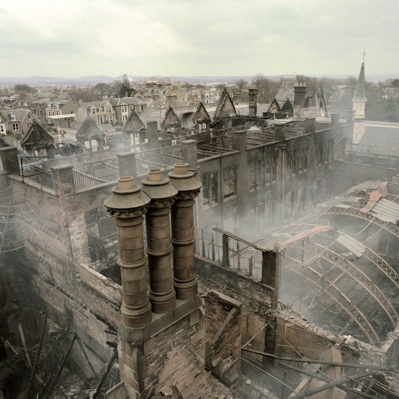 View taken from the fire-fighters extendable platform, after the fire was extinguished at Morgan Academy, 22 March 2001.  Threatened Buildings Survey photograph Scanned image of E 5758 CN.