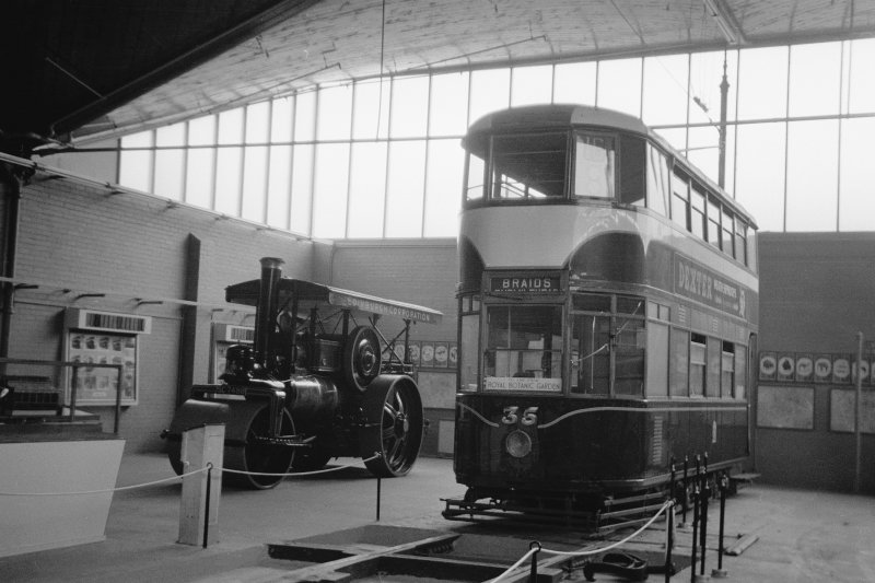 Interior View showing Edinburgh tram with steam roller in background