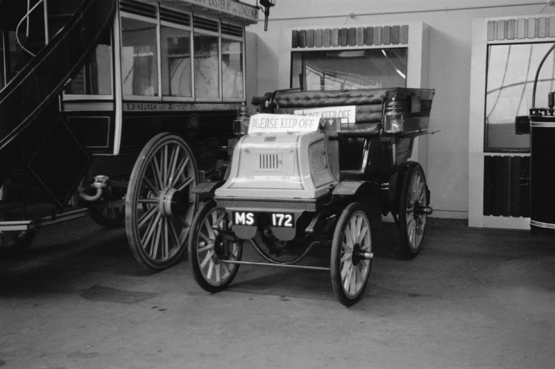 Interior View showing motor wagonette with the registration 'MS 172'