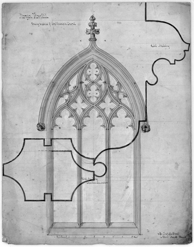 Details of windows of chapel. Scanned image of D 39797.