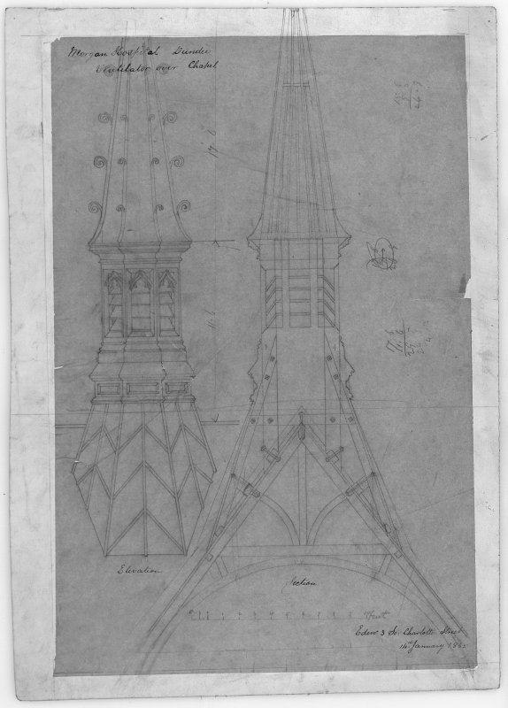 Elevation and section of ventilator over chapel. Scanned image of D 39805.