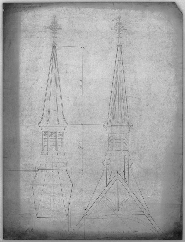 Elevation and section of ventilator over chapel. Scanned image of D 39806.