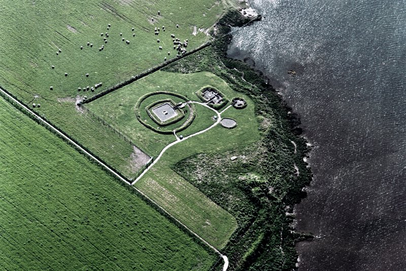 Aerial view of Orkney, Barnhouse, prehistoric settlement from the SE.
