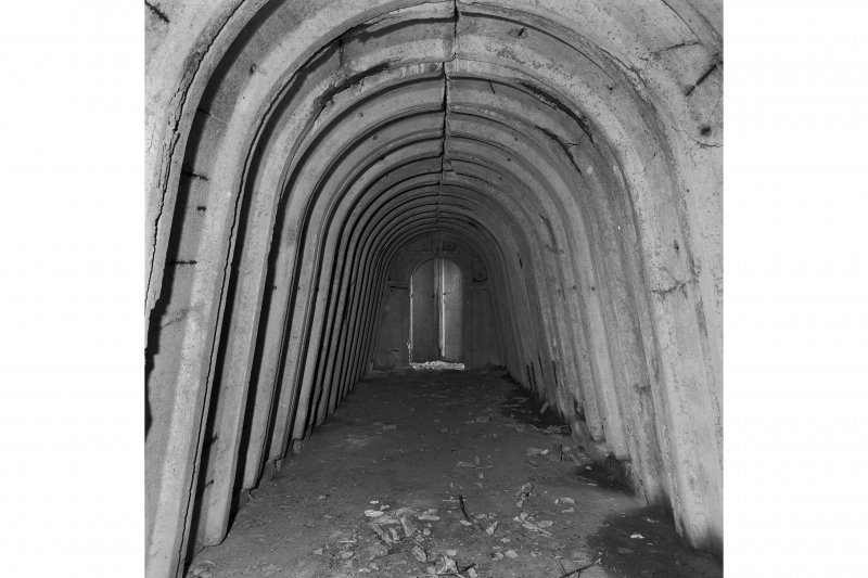Air-raid shelter, view of interior from East.