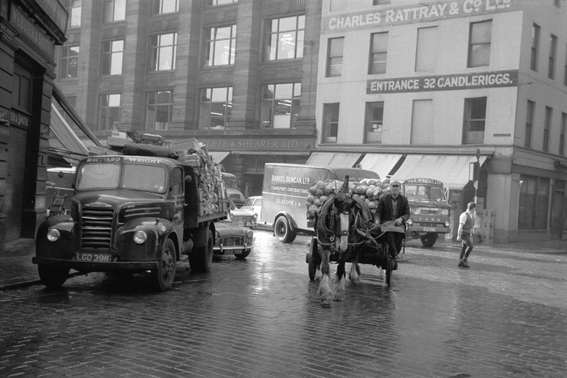 View from N showing horse lorry at Glasgow Fruit Market