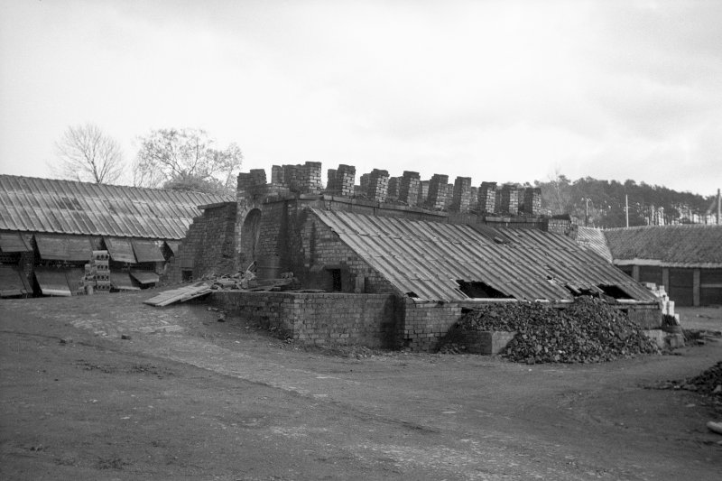 View from N showing NW and NE fronts of S updraught tile kiln