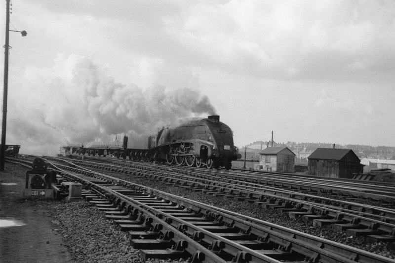 View showing special train with A4 4-6-2 passing Eastfield