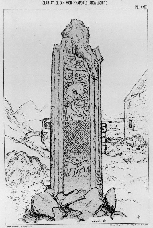 Eilean Mor, stone from Capt. T.P. White, 1875, 'Archaeological Sketches in Scotland, Knapdale and Gigha', pl. xxix. Digital image of E4764.