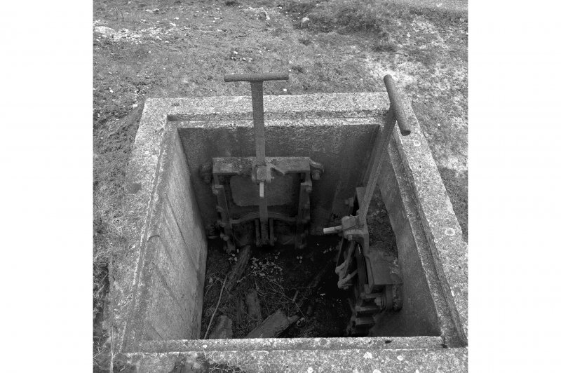 North tunnel, detail of sluice mechanism outside entrance.