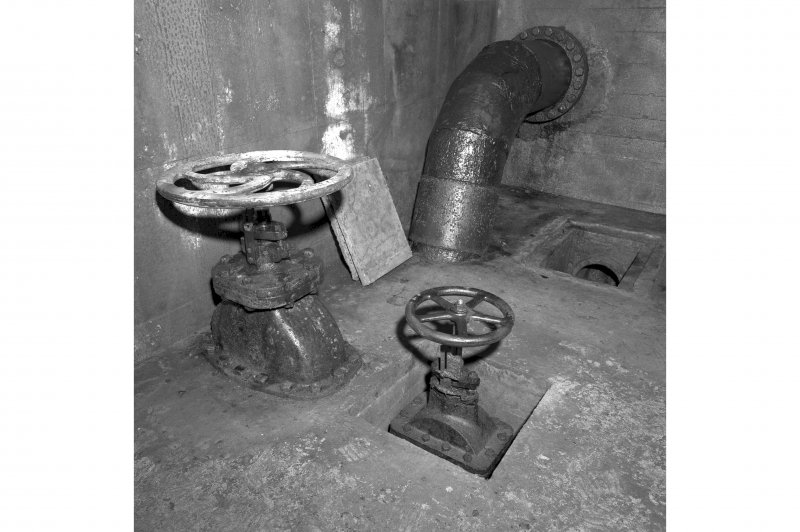 North tunnel, detail of oil tank control valves.