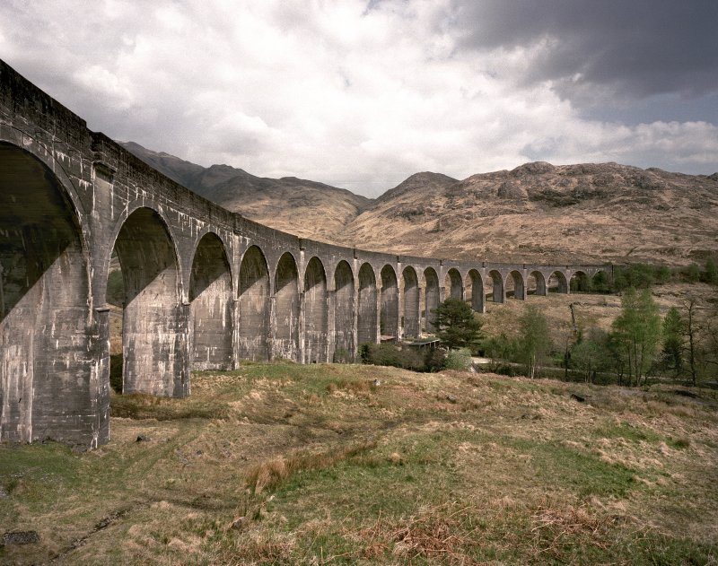 View of the Glenfinnan Railway Viaduct over River Finnan from SW