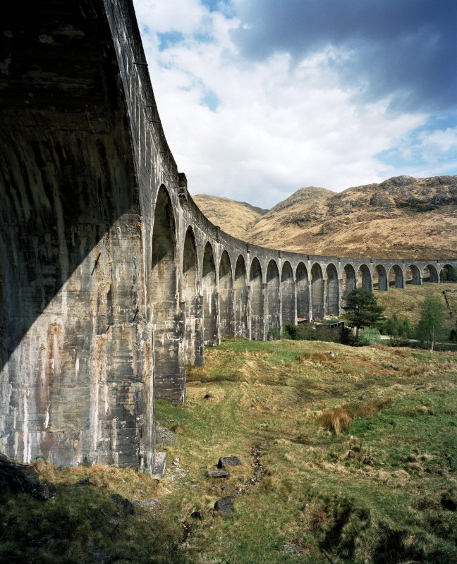 View of the Glenfinnan Railway Viaduct over River Finnan from W.