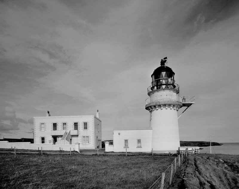 General view of lighthouse and keepers' house from S