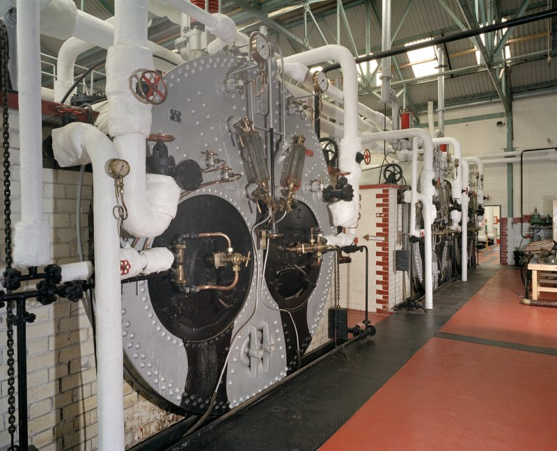 Boiler room, interior.  View of Lancashire boilers from the North East