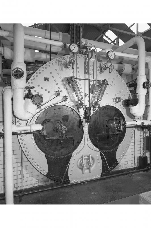 Boiler room, interior.  Detail of front end of Lancashire boiler