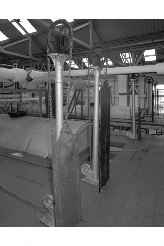 Boiler room, interior.  Detail of sliding control strips