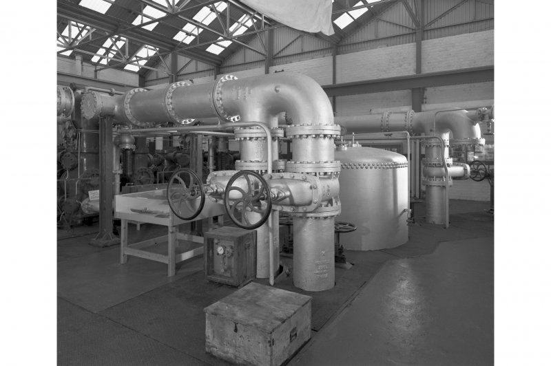 Pump room, interior.   View of pump room from South West, showing anti-surge vessel